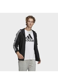 adidas Performance - ESSENTIALS FRENCH TERRY 3-STRIPES FULL-ZIP HOODIE - Zip-up hoodie - black - 2