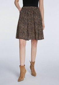SET - A-line skirt - dark brown camel - 0