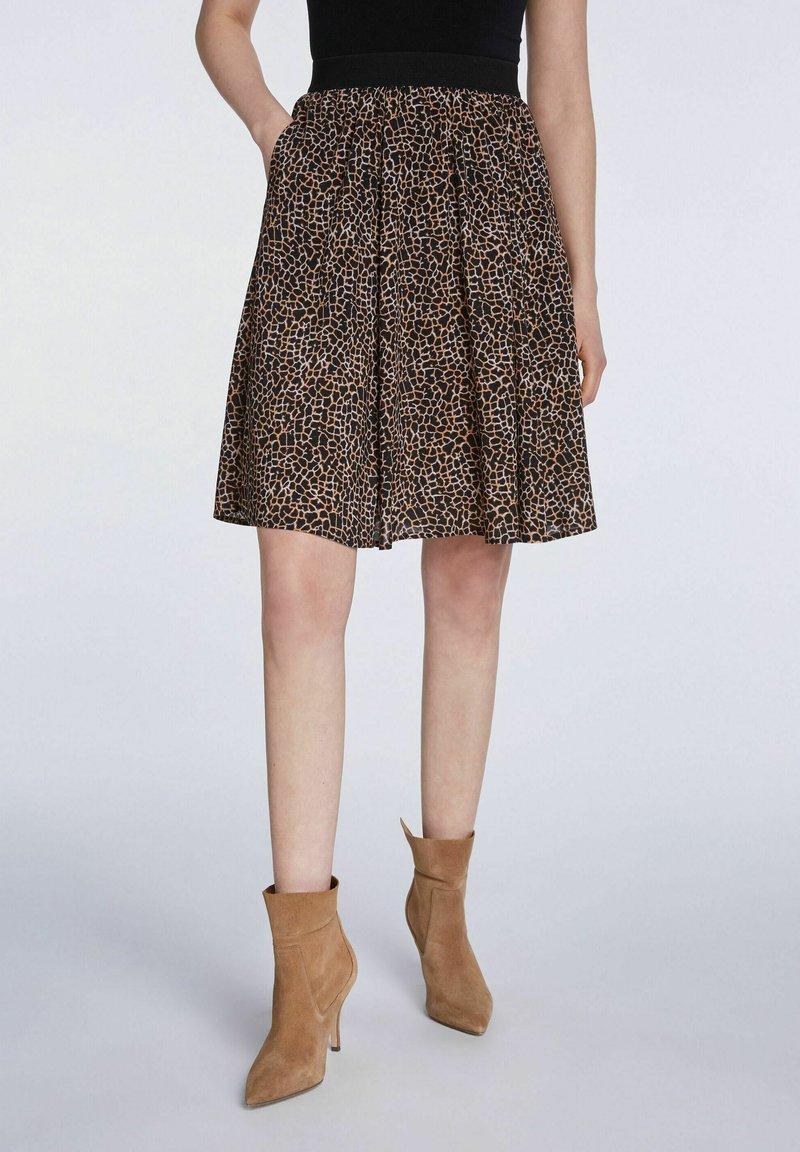 SET - A-line skirt - dark brown camel