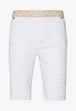 ELASTICATED WAIST DISTRESSED - Shorts di jeans - white
