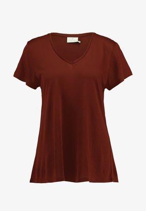 ANNA V NECK - T-shirts - cherry mahogany