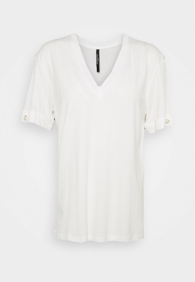 V NECK WITH PEARL BAR SLEEVE - T-shirt basique - white