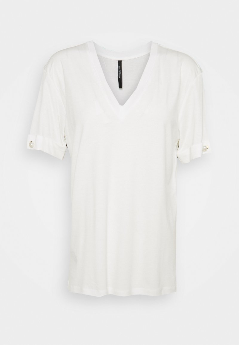 Mother of Pearl - V NECK WITH PEARL BAR SLEEVE - Basic T-shirt - white
