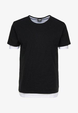 FULL DOUBLE LAYERED TEE - Basic T-shirt - black/white