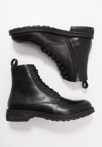 Walk London - WOLF LACE UP - Lace-up ankle boots - black - 1