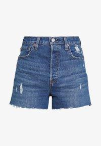 RIBCAGE SHORT - Denim shorts - blue