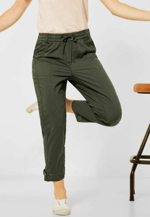 LOOSE FIT MIT PAPERBAG - Trousers - utility olive