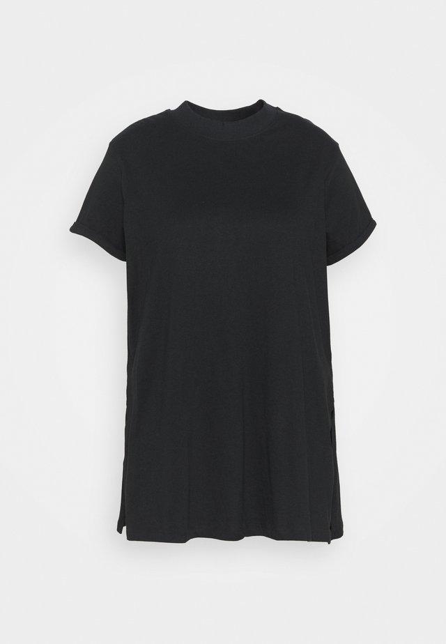 HIGH NECK SPLIT SIDE TUNIC - Print T-shirt - black