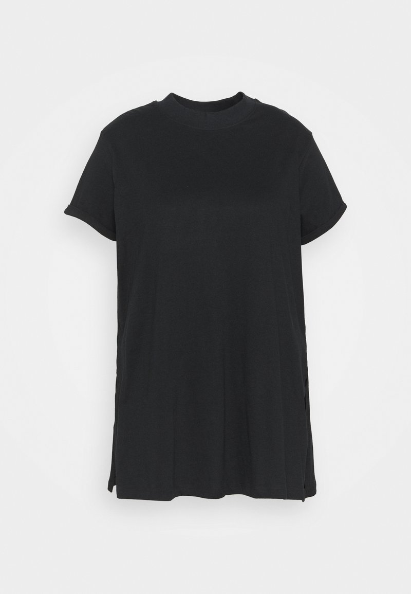 Simply Be - HIGH NECK SPLIT SIDE TUNIC - Print T-shirt - black