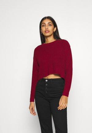 HIGH CROPPED JUMPER - Stickad tröja - dark red