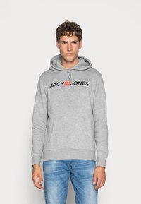 Jack & Jones - JJECORP LOGO HOOD - Luvtröja - light grey melange - 0