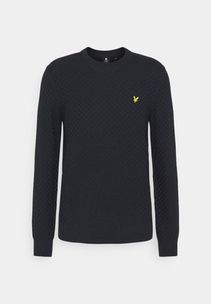 CHECKERBOARD CREW NECK JUMPER - Jumper - dark navy