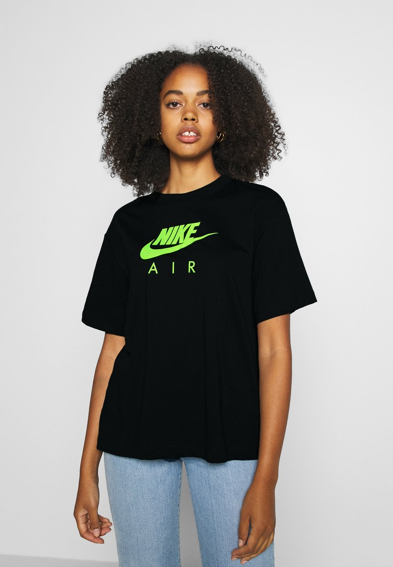Nike Sportswear - AIR TOP  - T-Shirt print - black/volt