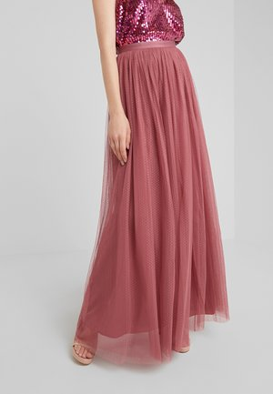 DOTTED MAXI SKIRT - Pleated skirt - raspberry