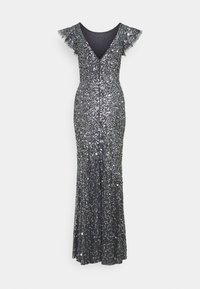 Maya Deluxe - FLUTTER SLEEVE ALL OVER SEQUIN MAXI DRESS WITH DIP BACK - Ballkjole - charcoal