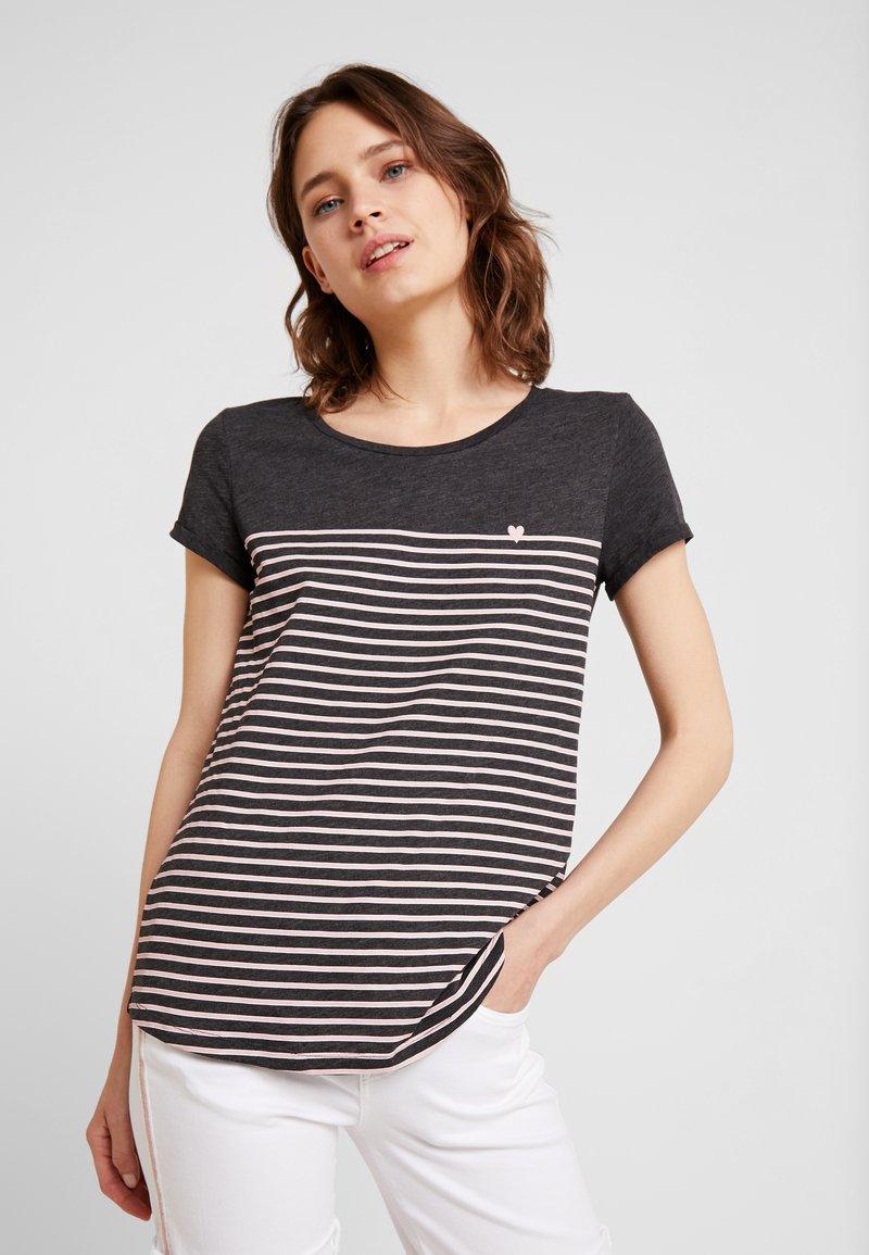 TOM TAILOR DENIM - PRINTED STRIPE TEE - T-shirt med print - dark grey/rose