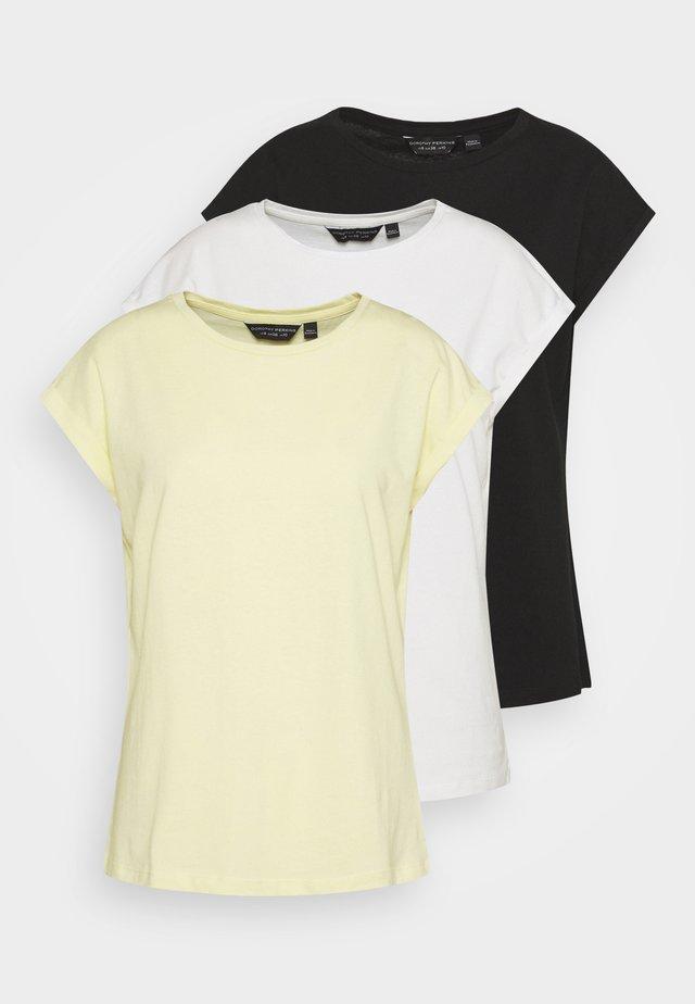 ROLL SLEEVE TEE 3 PACK - Jednoduché triko - black/white/lemon