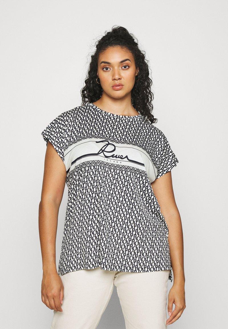 River Island Plus - Print T-shirt - navy