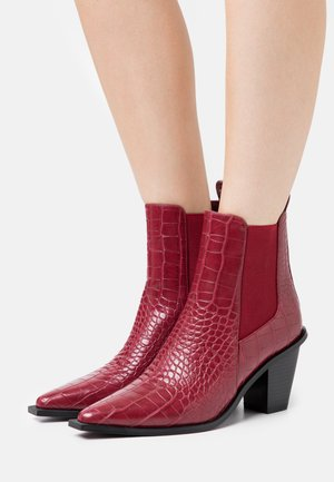 POINTY BLOCK HEEL BOOTS - Nilkkurit - wine red
