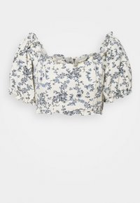 Missguided Petite - FLORAL SQUARE PUFF SLEEVE - Blusa - white - 0