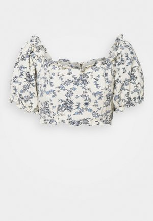 FLORAL SQUARE PUFF SLEEVE - Pusero - white