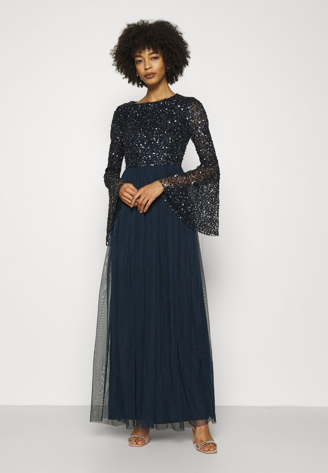 ROUND NECK DELICATE SEQUIN BELL SLEEVE MAXI DRESS - Iltapuku - navy