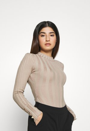 BUTTON CUFF CREW NECK BODY - Sweter - sand