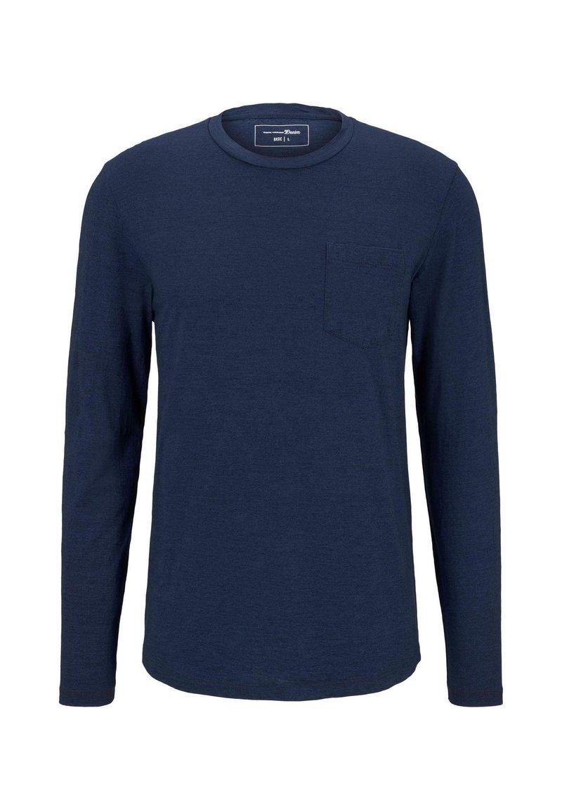 TOM TAILOR DENIM - T SHIRT INDIGO LANGARMSHIRT MIT BRUSTTASCHE - Long sleeved top - used mid stone blue denim