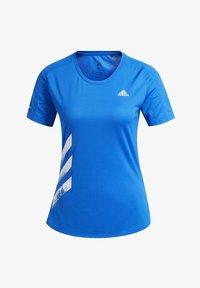 adidas Performance - RUN IT 3-STRIPES FAST T-SHIRT - Print T-shirt - blue - 8