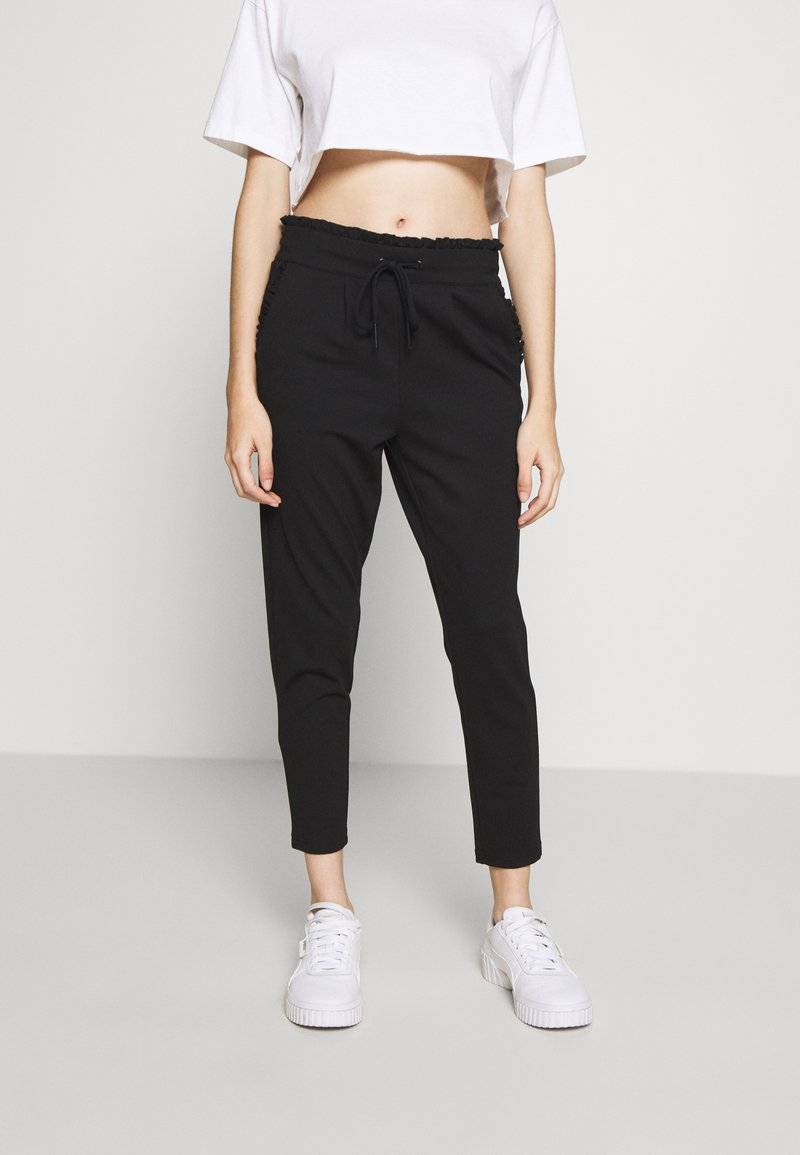 ONLY Petite - ONLPOPTRASH EASY FRILL PANT - Trousers - black
