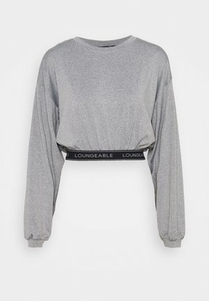 BALLOON SLEEVE LOUNGE CROP TOP WITH LOGO - Pyjama top - grey