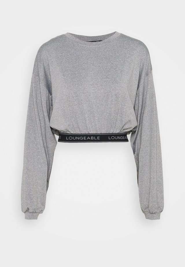 BALLOON SLEEVE LOUNGE CROP TOP WITH LOGO - Pyjamashirt - grey
