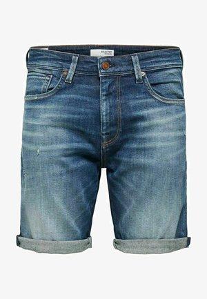 BIO-BAUMWOLL - Denim shorts - dark blue denim