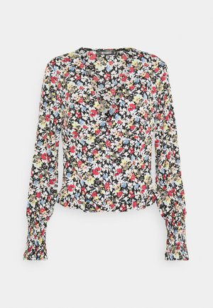 SHIRRED CUFF FRILL BLOUSE - Long sleeved top - multi