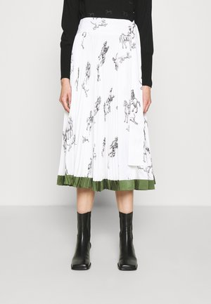 HUNTING PRINT PLEATED SKIRT - A-snit nederdel/ A-formede nederdele - white