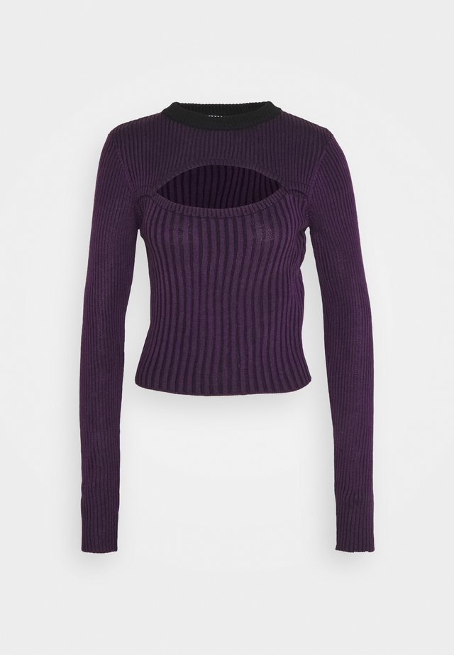 STRIPE PEEKABOO TOP - Strickpullover - purple