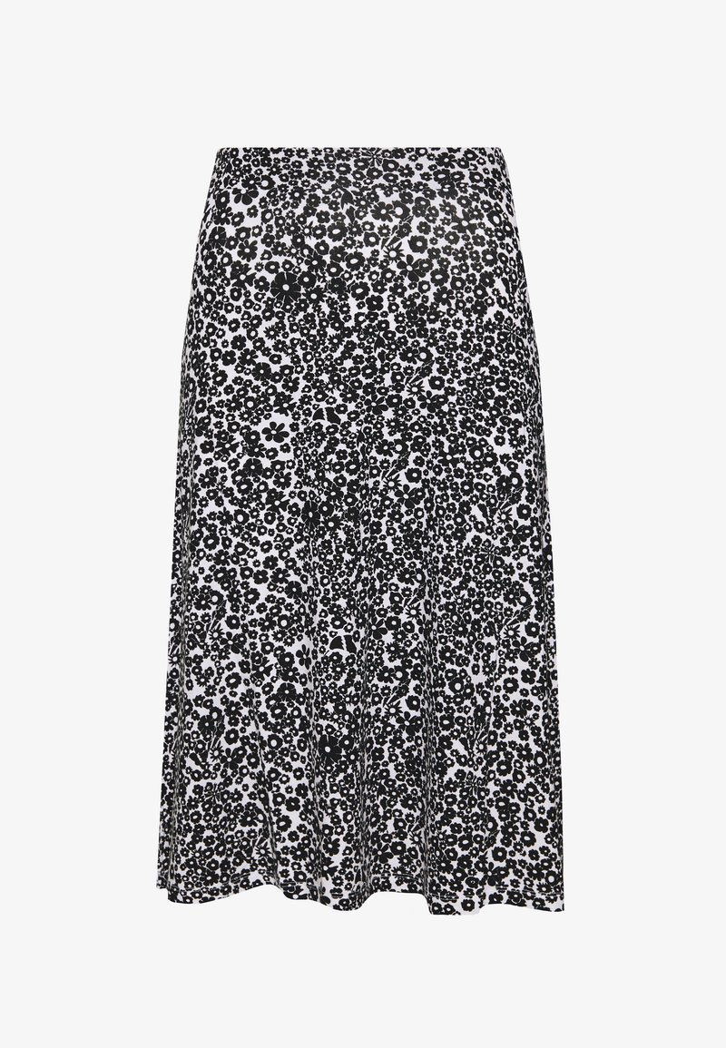 Even&Odd - BASIC - Midi A-line skirt - A-line skirt - white/black
