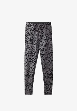 AUS LEDERIMITAT ANIMAL - Leggings - Trousers - grigio/nero