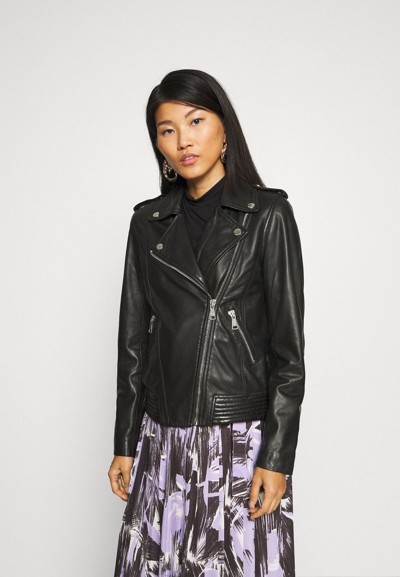 Marc O'Polo DENIM - PERFECTO - Leather jacket - black