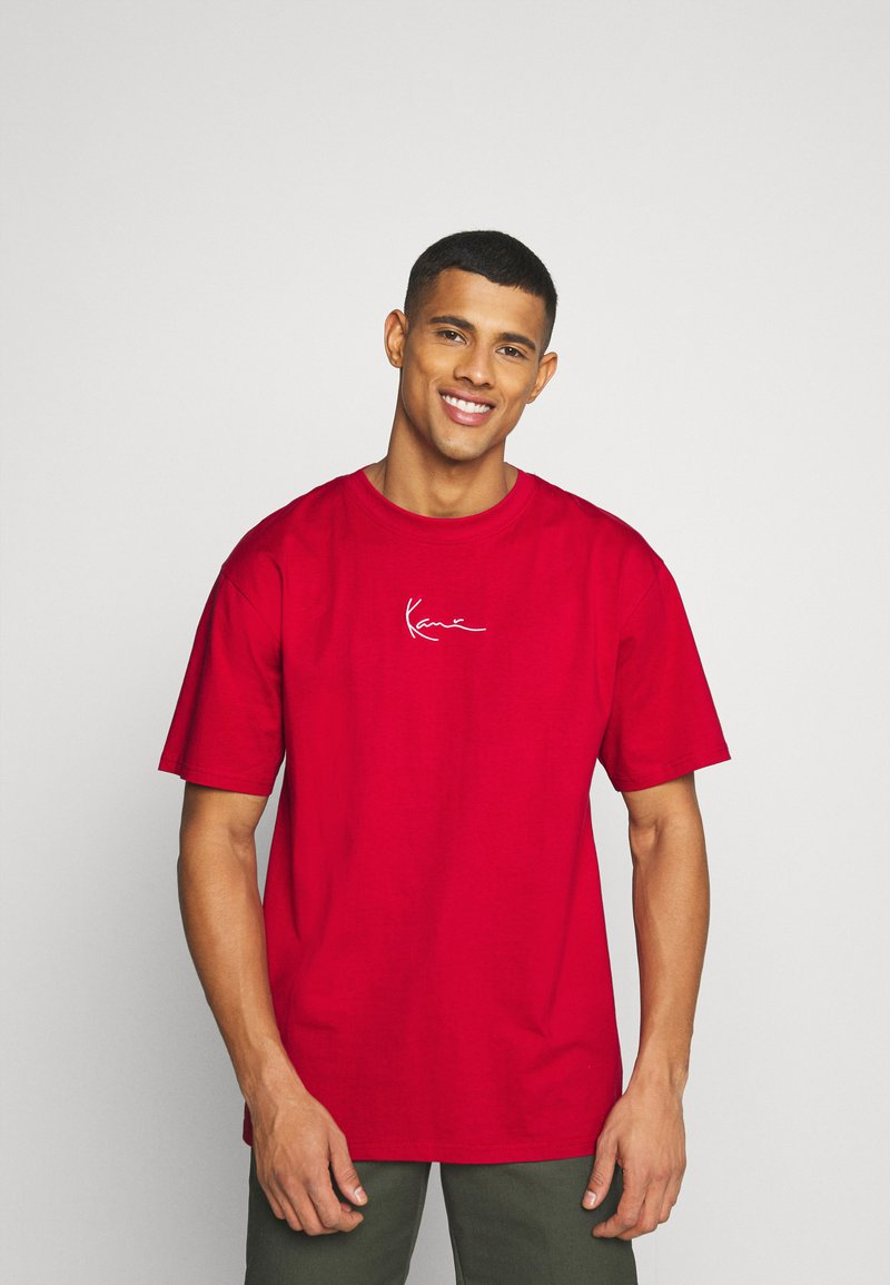 Karl Kani - SMALL SIGNATURE TEE UNISEX - Print T-shirt - dark red