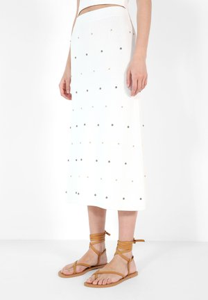 STUDS KNIT - A-line skirt - white