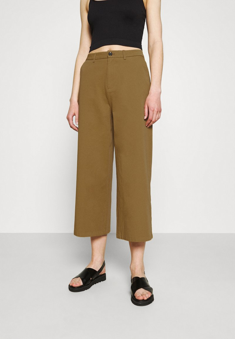 Even&Odd - Wide cropped leg Chino - Trousers - camel