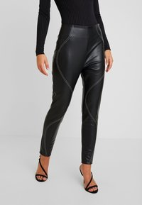 Missguided - CONTRAST STITCH TROUSERS - Stoffhose - black - 0