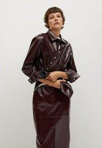 Mango - Leather skirt - donkerrood - 4