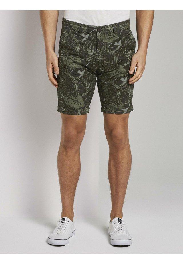 Shorts - khaki tropical leaves print