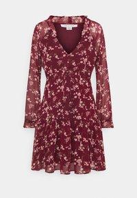 American Eagle - RUFFLE NECK BABYDOLL - Day dress - burgundy - 0