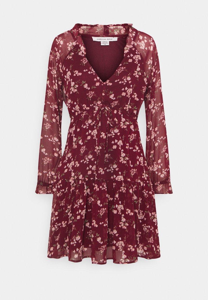 American Eagle - RUFFLE NECK BABYDOLL - Day dress - burgundy