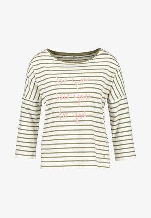 Langarmshirt - beige/white/green