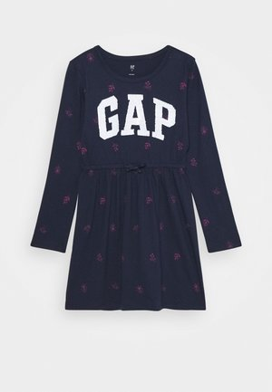 GIRLS FLIP LOGO DRESS - Žerzejové šaty - navy