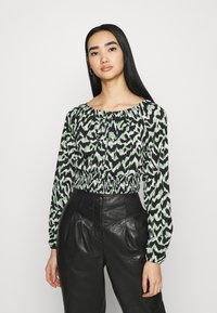 ONLY - ONLPELLA BOW - Long sleeved top - black/green milieu - 0